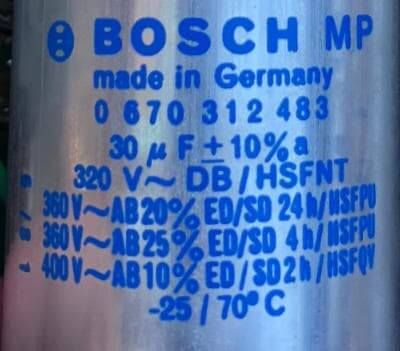 Typenschild Bosch-Kondensator