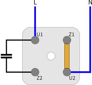 Klemmbrett Wechselstrommotor Rechtslauf
